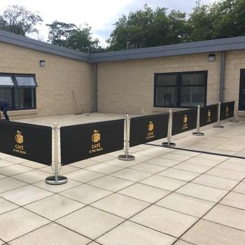 School signage cafe barrier