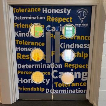 School signage door wrap